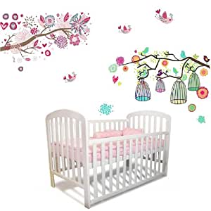 combo fleurs arbre cage d 39 oiseaux autocollant mural art mural enfants papier enfants filles. Black Bedroom Furniture Sets. Home Design Ideas