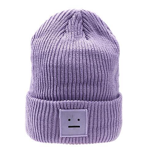 Imagen de aegkh mismo estilo de celebridad sombrero de mujer y hombre gorro de punto de invierno  de béisbol con cara de póker etiqueta puño de lana gorro  informal sombrero lindo y cálido, a