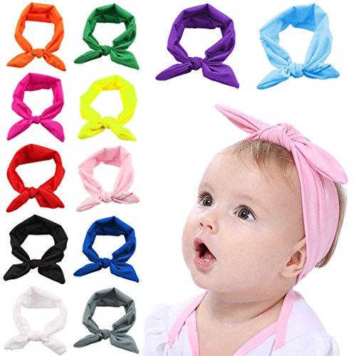 band, 12 Stück Bogen Headwrap Elastisches Kaninchen Ohr Hairband für Neugeborenes Kleinkind ()