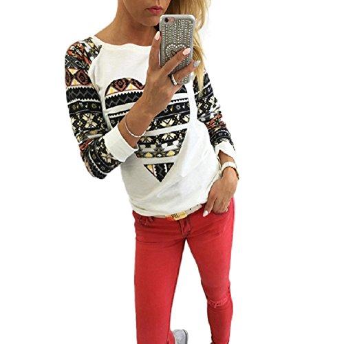 Culater® mujeres La impresión de la blusa de manga larga Casual tapas de la camisa (S, Blanco)