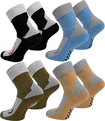 4 Paar Stopper-Socken / Homesocks mit rutschfester ABS Sohle und Innenfrottee / in Schwarz Farbe Schwarz Größe 39/42
