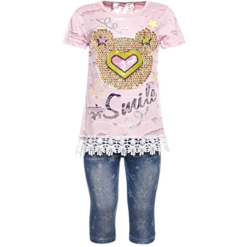 Mädchen Kurzarm Shirt Capri Hose Outfit 2tl Set 21782, Farbe:Rosa, Größe:116