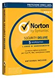 Norton Security Deluxe Antivirus Software 2019 | 5 Dispositivi (Licenza di 1 anno) | Compatibile con Mac, Windows, iOS e Android