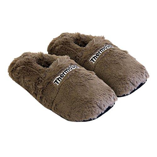 Zapatillas térmicas Pantuflas de Granos para el microondas y el Horno Talla L / EU41-45 Chocolate - Zapatillas para microondas Pantuflas térmicas