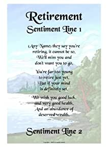 Retirement Personalised Gift Poem Print: Amazon.co.uk ...