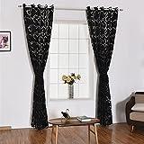 YOSEMITE Fenster Vorhang Sheer Trennwand Home Schlafzimmer Fenster Decor, Polyester, schwarz, Einheitsgröße