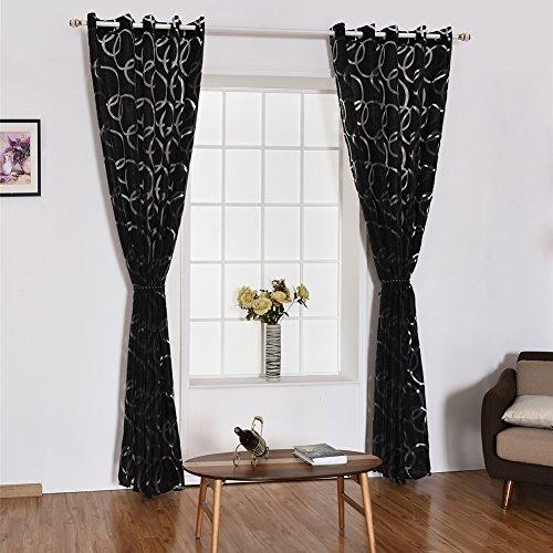 YOSEMITE Fenster Vorhang Sheer Trennwand Home Schlafzimmer Fenster Decor, Polyester, schwarz, Einheitsgröße -