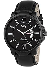 Watch Me Day And Date Analog Black Dial Black Leather Strap Quartz Watch For Men And Boys DDWM-022bys