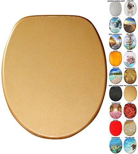Sedile wc con chiusura ammortizzata, grande scelta di belli sedili wc da legno robusto e di alta qualità (oro scintillante)