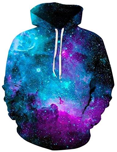 Loveternal Blau Galaxy Kapuzenpullover Herren 3D Print Pullover Hoodie Sweatshirt mit Großen Taschen XXL/XXXL