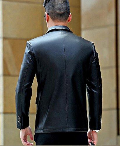JZWXX Hommes Printemps Automne costume simple boutonnage luxe blazer élégant manteaux occasionnels lavé veste en cuir PU MC1603FR Noir