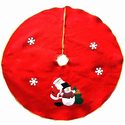 FinerMe Vliesstoffe Rot Weihnachtsbaum Rock 91,4cm Weihnachts Baum Rock Weihnachten Dekoration Neue Jahr Party Supply Red-Embroidered