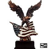 Décorations de bureau moderne bureau ornement étoiles et rayures aigle patriotique statue bronze artisanat USA drapeau figurine fait à la main résine résine avec base en bois