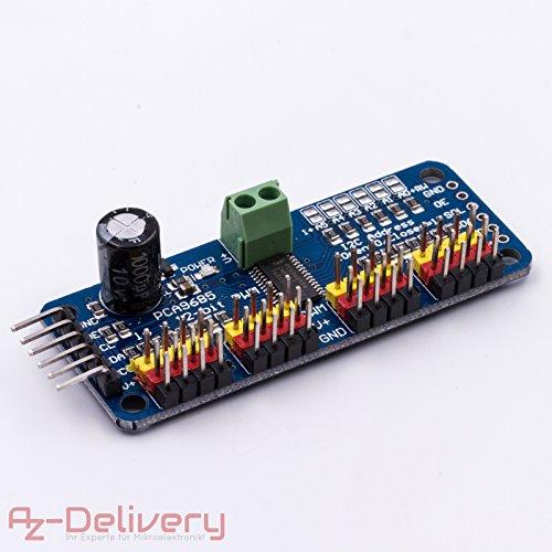 AZDelivery PCA9685 16 Kanal 12 Bit PWM Servotreiber für Arduino Raspberry Pi und andere Mikrocontroller