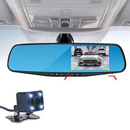 Pang Hu Doppelobjektiv-Schlag-Kamera, Spiegel-Kamera-Auto-Armaturenbrett, 4,3 Zoll LCD-Doppelobjektiv-DVR-Videorecorder-TFT-Rückansicht-Bildschirm G-Sensor wasserdicht für Auto-Ersatzkamera HD 1080P