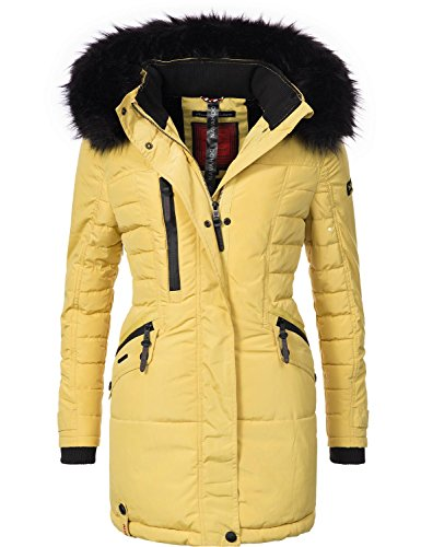 Navahoo Damen Mantel Wintermantel Steppmantel Eliya (vegan hergestellt) Gelb Gr. XL