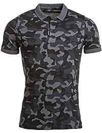 BLZ jeans - Polo piqué homme noir imprimé effet camouflage