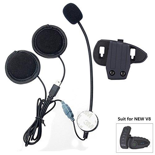 Motorrad-Helm Kommunikationssystem, Mikrofon, Kopfhörer, Kabel, Headset und Clip, Zubehör für V8 mit 10-poligem Mini-USB-Anschluss, Bluetooth, Interphone, Motorrad-Intercom Mini-usb Headset