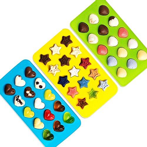 Pralinen selber machen Silikon-backform - Eiswürfel-Form-Silikon, Seife-Form-en aus Silikon Stern - Herz - Muscheln Form 3er Packung eiswürfel-behälter um Süßigkeiten mit Formen aus Silikon erstellen Sie verschiedene Praline-form-en und Bonbons