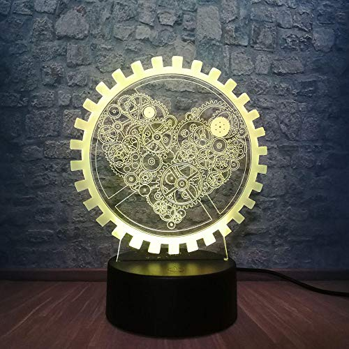 3D Nachtlicht Romantische 3D Innovative Gadget Mechanische Getriebe Liebe Nachtlicht Atmosphäre Tisch Led Lampe Bunte Illusion Stimmung Dekorative Geschenk