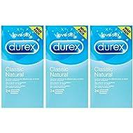Durex 24 Préservatifs Natural - lot de 3 (72 préservatifs)