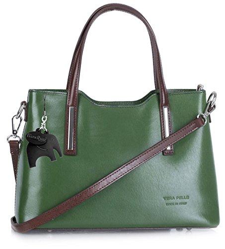 Big Handbag Shop ,  Damen Tornistertasche Green - Brown Trim