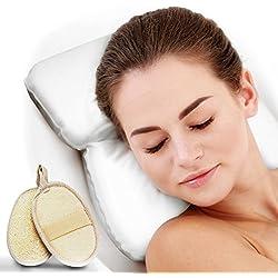 Pumpko® Komfort Badewannenkissen INKL. 2 Peeling Pads und Wellness-Guide | Wellness Nackenkissen | Ideales Badewannenkopfkissen in Weiß für Badewanne oder Whirlpool