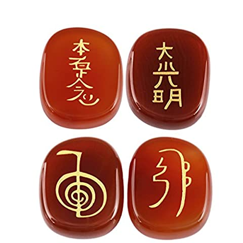 Shanxing Carnelian Engraved Chakra Polished Oval Palm Stone Crystal Reiki Healing Pack of 4