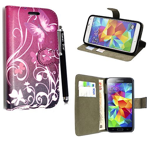 GSDSTYLEYOURMOBILE {TM} AMAZON FIRE PHONE FLIP CARD / MONEY STAND PU LEDER CASE COVER HÜLLE ETUI TASCHE SCHALE + STYLUS (Purple Butterfly Book)