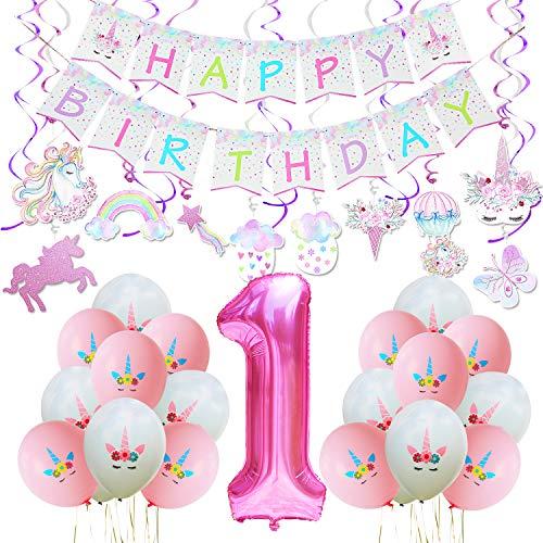 WERNNSAI EEinhorn Party Deco Set - Einhorn Themen Partyzubehör für 1 Jahr Alt Geburtstag Kleine Einschließlich Banner, Hängende Strudel, Latex Ballon, Riesenanzahl 1