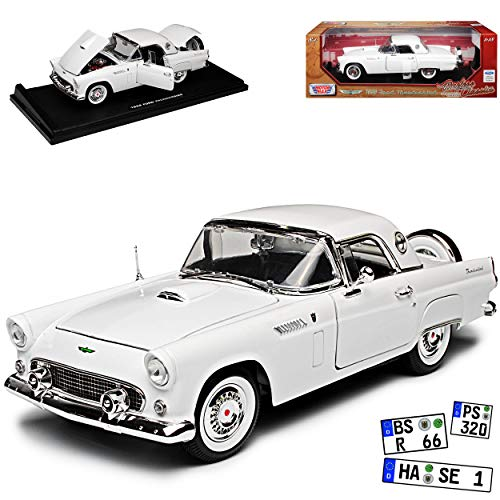 alles-meine.de GmbH Ford Thunderbird Cabrio Weiss mit Hart Top Classic Birds 1. Generation 1955-1957 1/18 Motormax Modell Auto