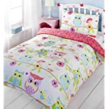 """Owl and Friends Single Duvet Cover + Matching 72"""" Fully Lined Curtains"""