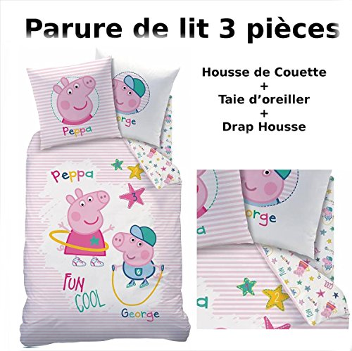 Peppa Pig–Juego de cama (3pcs)–100% algodón–Funda de edredón (140x 200) + funda de almohada (63x 63) + sábana bajera (90x 190)–Recreation