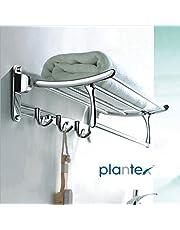 Plantex High Grade Stainless Steel Folding Towel Rack for Bathroom/Towel Stand/Hanger/Bathroom Accessories(24 Inch-Chrome)