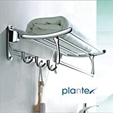 Plantex High Grade Stainless Steel Folding Towel Rack for Bathroom/Towel Stand/Hanger / Bathroom Accessories (24 Inch)