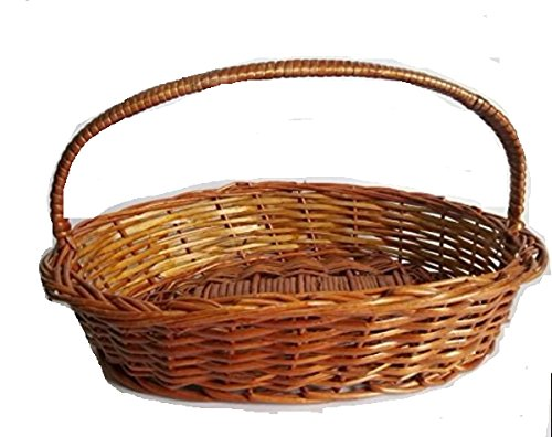 Indrani Collection Bamboo And Cane Oval Baskets With Handle - (Small-23 Cms X 15.24 Cms, Medium-28 Cms X 18 Cms, Large-33 Cms X 23 Cms, Brown)(set Of 3)