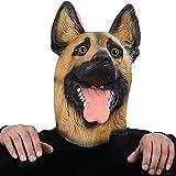 Lianaic Maske Hund Maske Kopf Vollgesichtsmaske Halloween Maskerade Kostüm Party Cosplay Kostüm Polizei Tier Shepherd Latex Maske
