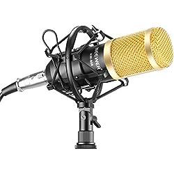 Neewer® Juego profesional de micrófono para estudio de transmisión y grabación. Incluye un (1) micrófono profesional de condensador NW-800 + una (1) montura antivibratoria + una (1) cubierta de espuma antiviento tipo bola + un (1) cable de alimentación (negro).