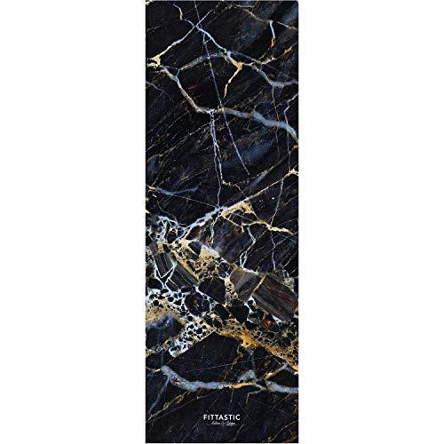 Fittastic All-in-One Travel Yogamatte dünn, leicht und rutschfest - Naturkautschuk - schadstofffrei - Gymnastik-Matte - 1 mm - 180 x 61 cm (Black Marble)