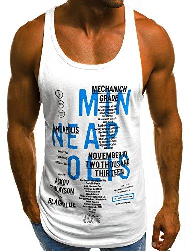 OZONEE Mix Herren Tanktop Tank Top Tankshirt T-Shirt Unterhemden Ärmellos Muskelshirt Sport O/1202 Weiß M