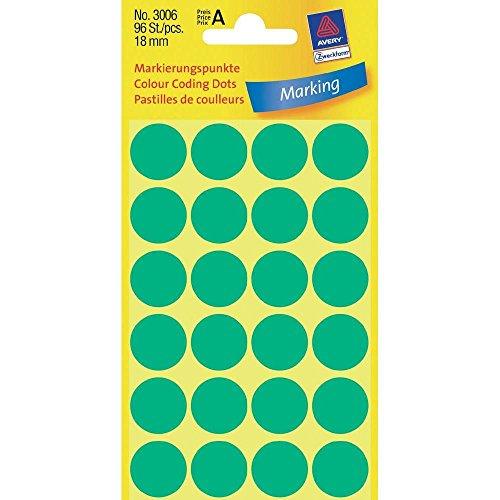 Avery 3006 Círculo Verde 96pieza(s) - Etiqueta autoadhesiva (Verde, Círculo, Papel, 1,8 cm, 96 pieza(s), 24 pieza(s))
