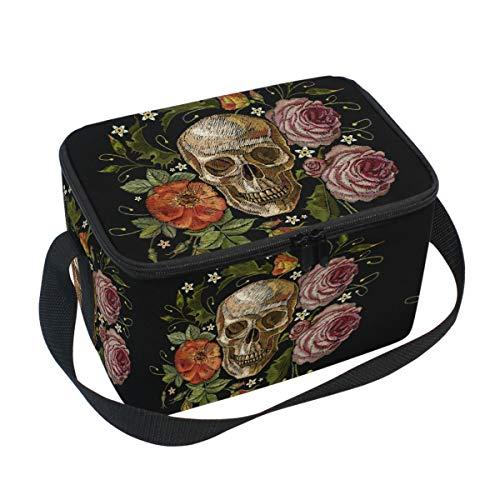 Emoya Isolierte Lunchtasche Lunchbox Gothic Totenkopf Rosen und rosa Pfingstrosen Kühltasche mit Schultergurt für Männer Frauen Kinder Erwachsene
