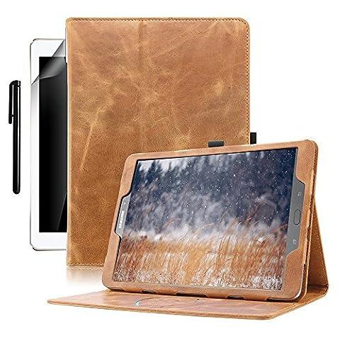 Samsung Galaxy Tab S3 9.7 Hülle, Boriyuan Echt Leder Case Schutztasche, mit Standfunktion, Automatische Schlaf/Aufwachen Funktion für das Samsung Galaxy Tab S3 9,7 Zoll SM-T820 T825 - (Braun)