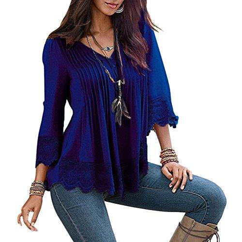 Kinikiss Damen Tunika T-Shirt, Einfarbig Dunkelblau