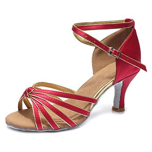 HIPPOSEUS Donne sala da ballo scarpe/scarpe da ballo/scarpe latino raso donne 7CM Rosso Scuro