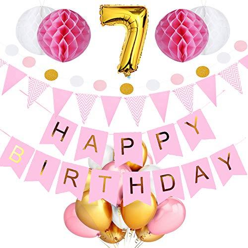 SeHan Geburtstagsdeko für Mädchen und Jungen ab 1 bis 9 Jahre, Rosa (geburtstagsdeko 7 Jahre)