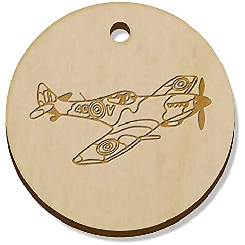 11 x 34mm 'Avion Spitfire' pendentif en bois (PN00040281)