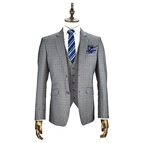Cavani Mens Edan 3 Stück Tweed Anzug Grau Kontrollkästchen Partei Prom Hochzeit Anzug Maßgeschneidert 3pc UK 50 = EUR 60 (Anzug Maßgeschneiderte Stück 3)