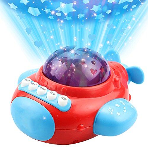TOYMYTOY Projektor Licht Sternenhimmel Nachtlicht Baby Kinder LED Projektorlampe mit Musik Schlafzimmer Dekoration Pädagogisches Spielzeug Flugzeug (Rot)