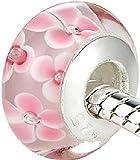 #7: Carina Pink Flower Murano Glass Charms Fit Pandora Bracelet